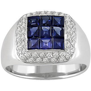 Miadora Signature Collection 18k Gold Sapphire 1/3ct TDW Diamond Ring (G-H, VS)