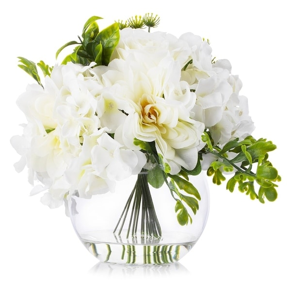 Enova Home Cream Hydrangea Rose and Peony Mixed Silk Flower in Round Clear Glass Vase Home Decoration - N/A
