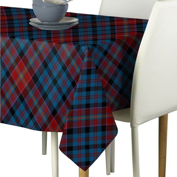 """Polyester Winter Blue Plaid Signature Tablecloth 60"""" x 84"""""""