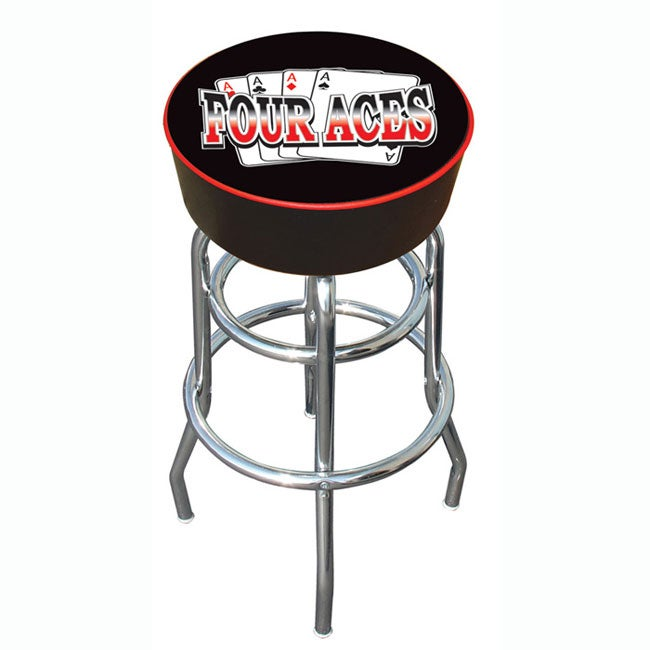 30-inch Four Aces Padded Bar Stool with Adjustable Leg Levelers