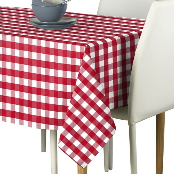 """Polyester Picnic Check Signature Tablecloth 54"""" x 54"""" Red"""