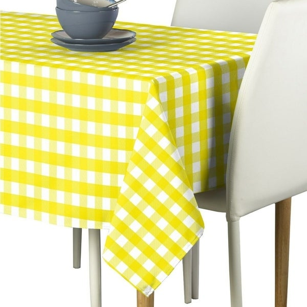 "Polyester Picnic Check Signature Tablecloth 54"" x 54"" Yellow"
