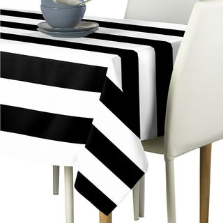 "Polyester Black & White Cabana Stripe Signature Tablecloth 60"" x 84"""