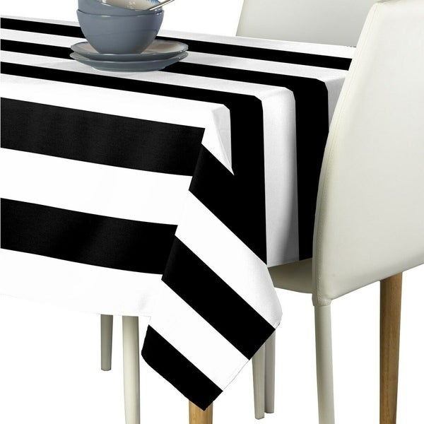 "PolyesterBlack&WhiteCabanaStripeSignatureTablecloth60"" x 84"""