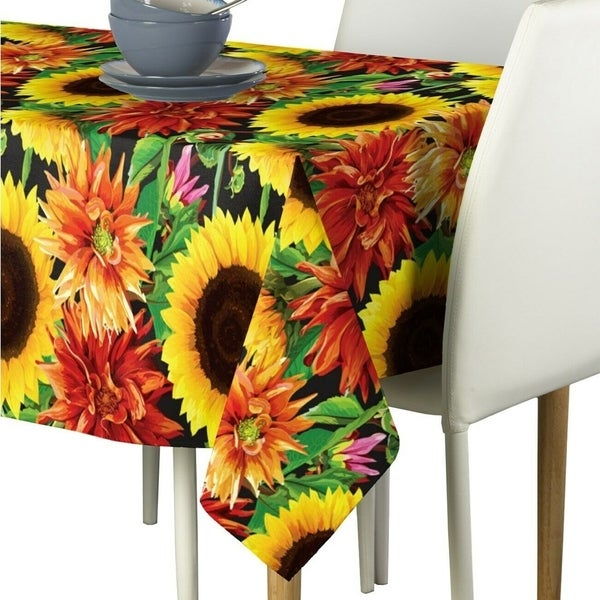 "Polyester Sunflower Garden Signature Tablecloth 54"" x 54"""