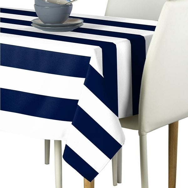 "Polyester Navy & White Cabana Stripe Signature Tablecloth 60"" x 120"""