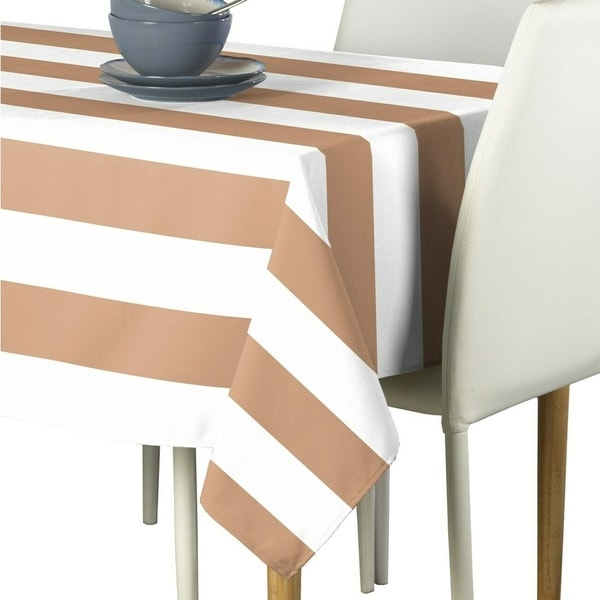 "Polyester Tan & White Cabana Stripe Signature Tablecloth 60"" x 84"""