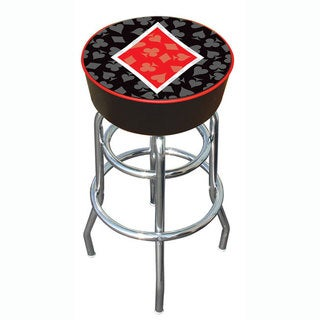 Diamond Poker 30-inch Padded Vinyl Chrome Base Double-rung Barstool