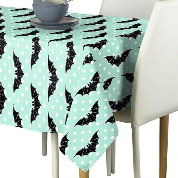 "Polyester Halloween Bats & Dots Fabric Tablecloth 60"" x 104"""