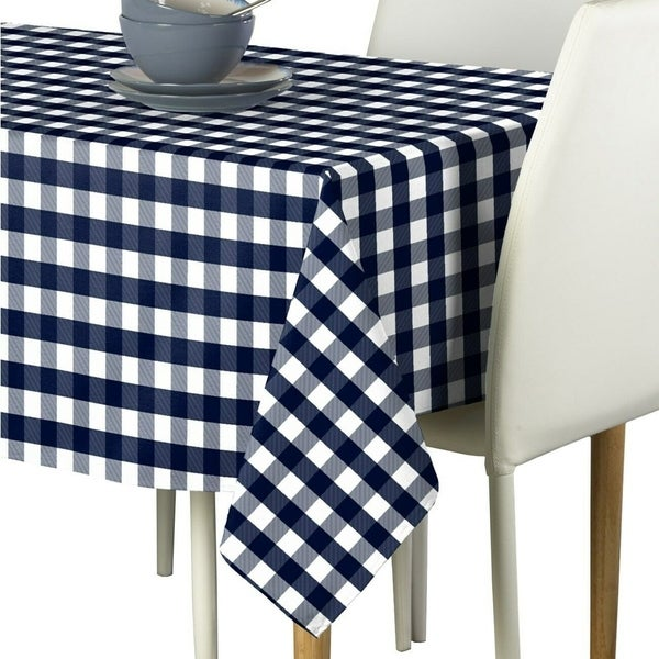 """Polyester Picnic Check Signature Tablecloth 60"""" x 84"""" Navy"""