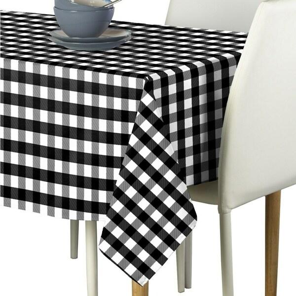 "Polyester Picnic Check Signature Tablecloth 60"" x 120"""" Black"