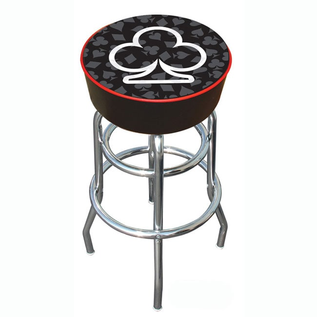 Clubs Of Poker Padded Chrome Pub Style Bar Stool With