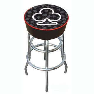 Clubs of Poker Padded Chrome Pub-style Bar Stool - with Vinyl Seat|https://ak1.ostkcdn.com/images/products/2985871/P11137180.jpg?impolicy=medium