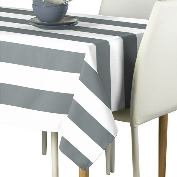 "Polyester Gray & White Cabana Stripe Signature Tablecloth 60"" x 120"""