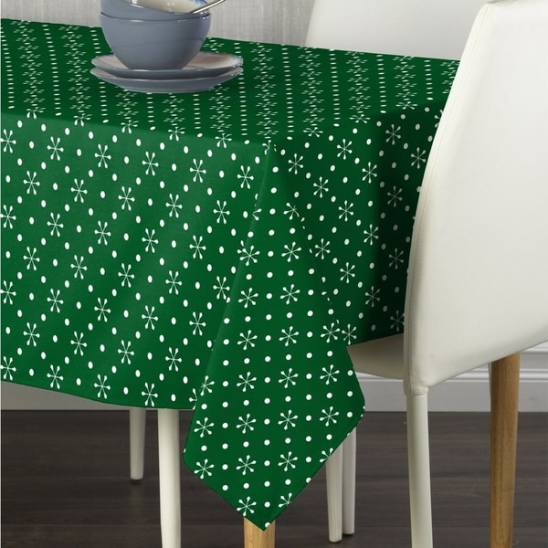 "Polyester Green Snowflakes & Dots Tablecloth 60"" x 120"""