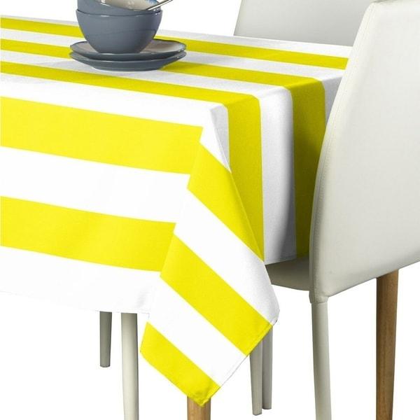 "Polyester Yellow & White Cabana Stripe Signature Tablecloth 60"" x 84"""