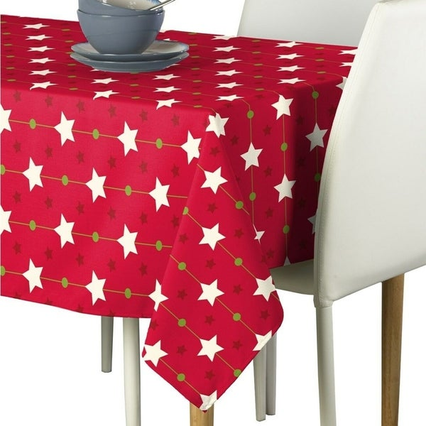 """Polyester Christmas Stars Red Signature Tablecloth 60"""" x 104"""""""