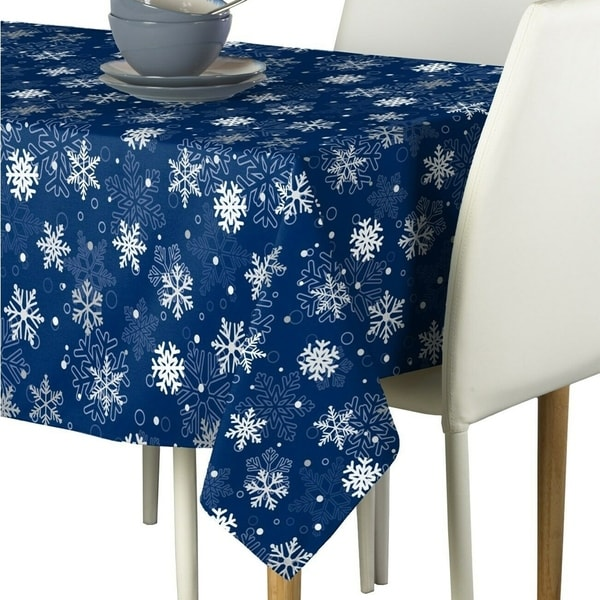 """Polyester Winter Blue Christmas Snowflakes Tablecloth 60"""" x 120"""""""
