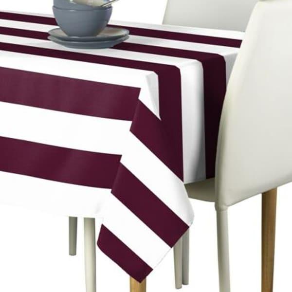 "Polyester Burgundy & White Cabana Stripe Signature Tablecloth 60"" x 120"""