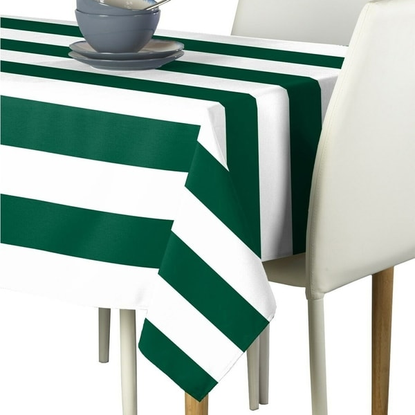 "Polyester Forest & White Cabana Stripe Signature Tablecloth 60"" x 84"""