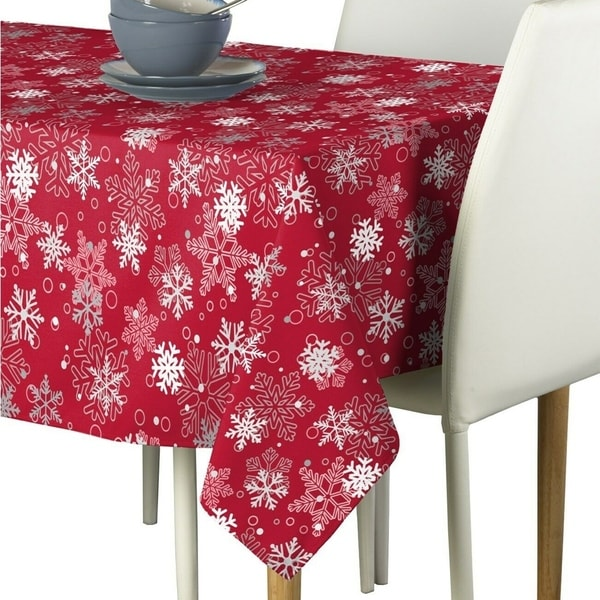 "Polyester Winter Red Snowflakes Tablecloth 60"" x 120"""