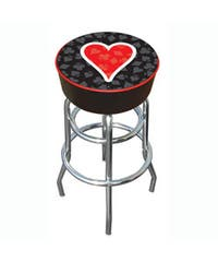 Hearts of Poker Padded Chrome-plated Bar Stool with Double-rung Base
