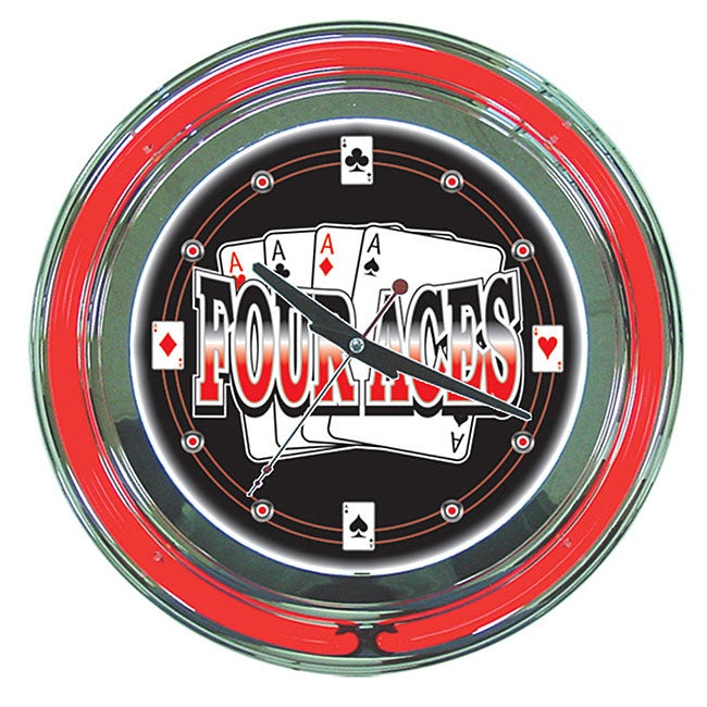 Four Aces Neon Wall Clock