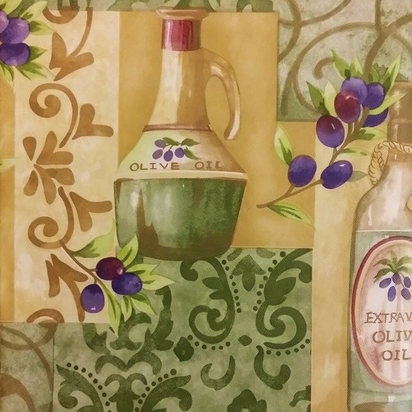"""Tuscan Themed Vinyl Flannel Back Round Tablecloth 60"""" Olives and Olive Oil"""