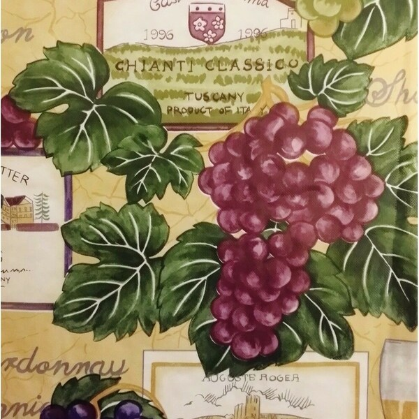 """Tuscan Themed Vinyl Flannel Back Round Tablecloth 60"""" Wine and Grapes"""
