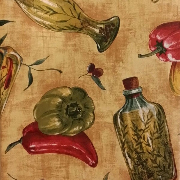 """Tuscan Themed Vinyl Flannel Back Oblong Tablecloth 50"""" x 90"""" Tomatoes, Peppers, Herbs"""