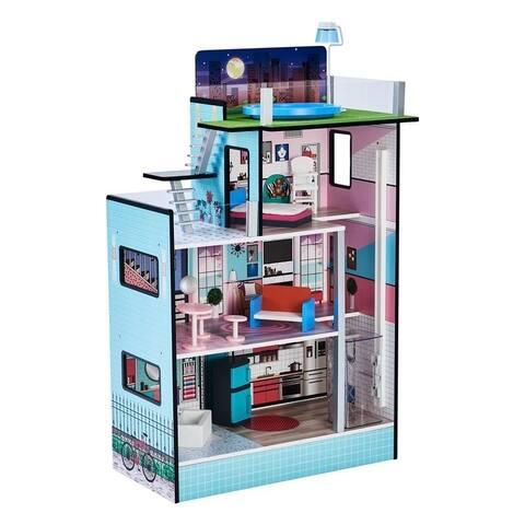 "Teamson Kids - Dreamland Barcelona 3.5"" Doll House - Blue / Pink"