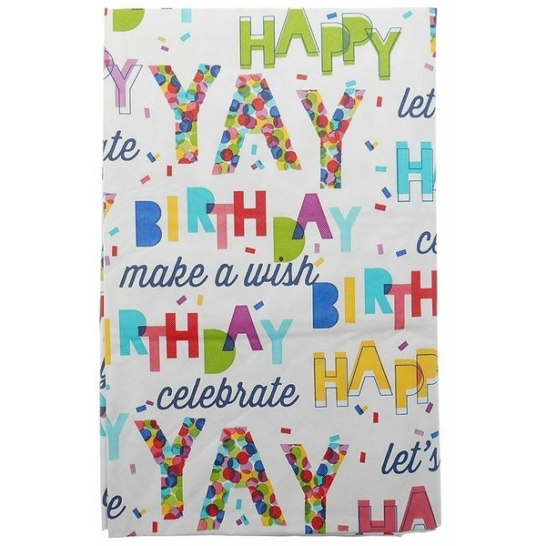 "Vinyl Happy Birthday Flannel Back Oblong Tablecoth52"" x 90"""
