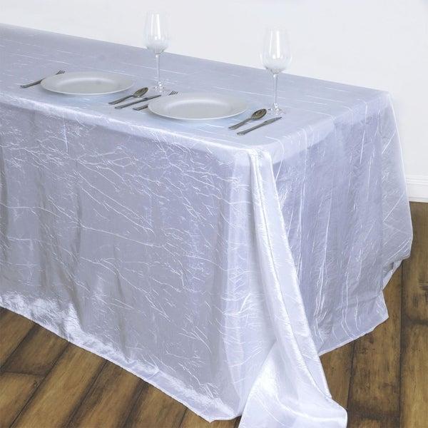 "Crinkle Taffeta Rectangle Tablecloth 90""x132"" White"