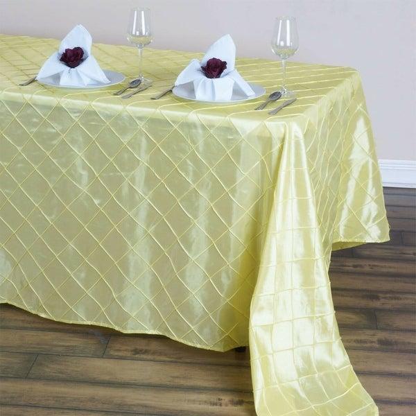 "Pintuck Rectangle Tablecloth 90"" x 132"" Yellow"