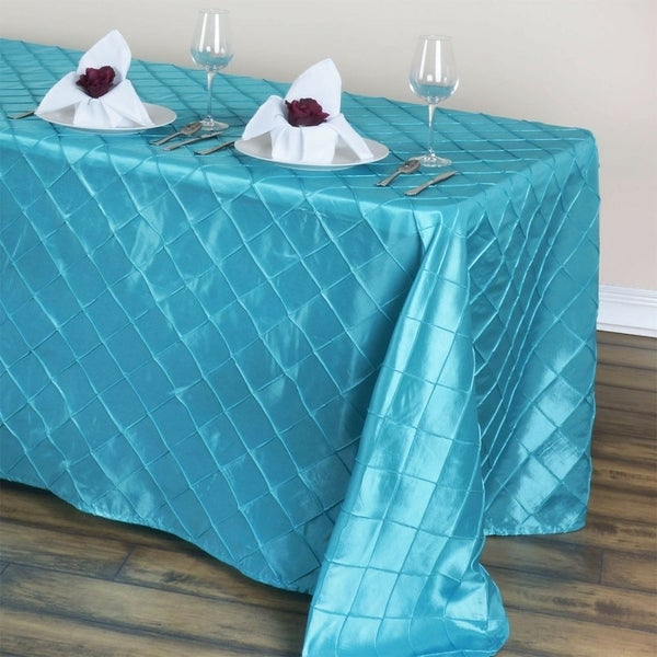 """Pintuck Rectangle Tablecloth 90"""" x 132"""" Turquoise"""