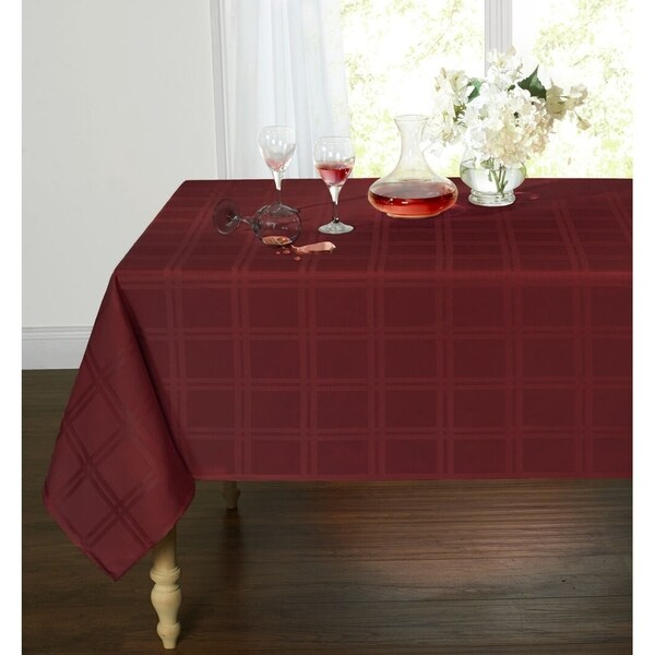 "Plaid&TartanStainResistant&Spill-ProofFabricOblongTablecloth60"" x 102"" Burgundy"