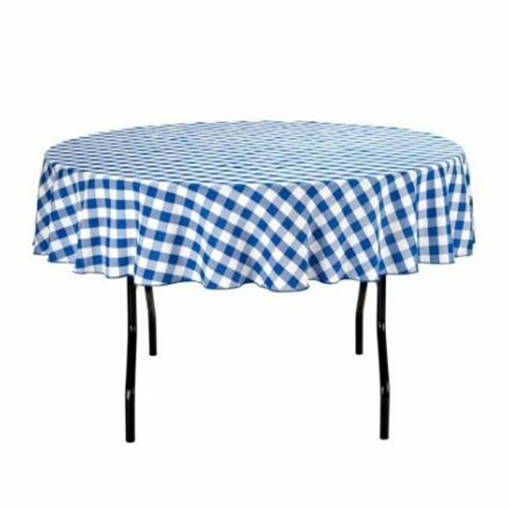 Gingham Checkered Round Tablecloth