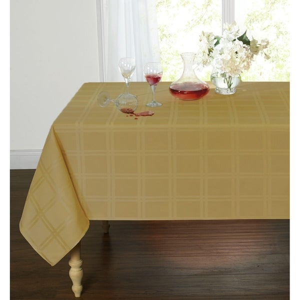 """Plaid&TartanStainResistant&Spill-ProofFabricOblongTablecloth60"""" x 84"""" Gold"""