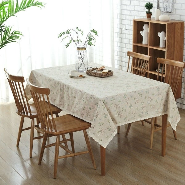 "Cotton and Linen Green Grass Tablecloth 54"" x 80"""