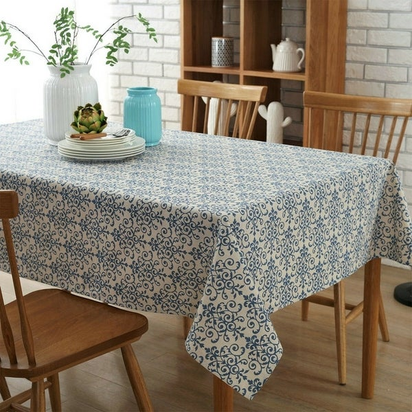 """Cotton and Linen China Pattern Tablecloth 54"""" x 80"""""""
