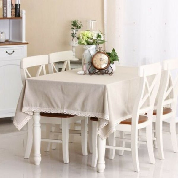 "Cotton and Linen Simple White Tablecloth 54"" x 80"""