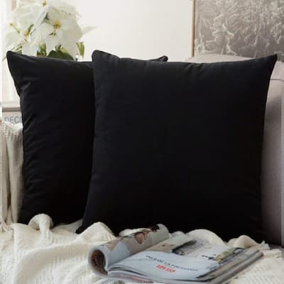 "Pack of 2 Velvet Soft Solid Decorative Throw PillowCaseBlack22"" x 22"""