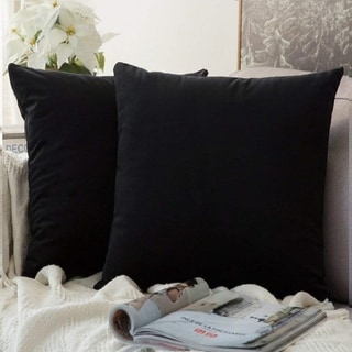 "Link to Pack of 2 Velvet Soft Solid Decorative Throw Pillow Case Black 22"" x 22"" Similar Items in Decorative Accessories"