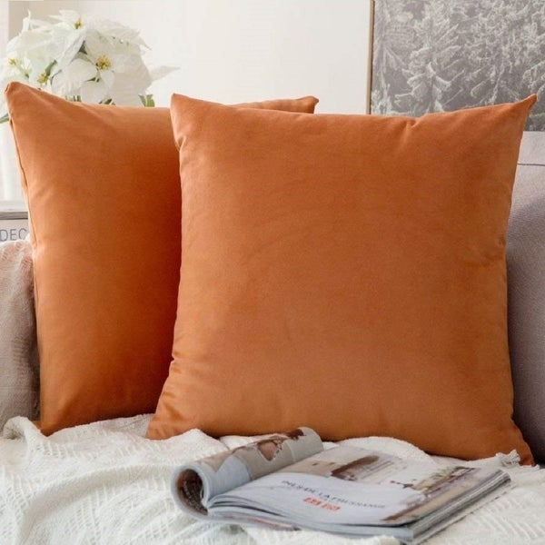 "Pack of 2 Velvet Soft Solid Decorative Throw PillowCaseOrange 18"" x 18"". Opens flyout."
