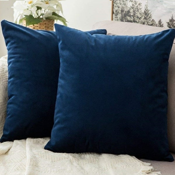 "Pack of 2 Velvet Soft Solid Decorative Throw PillowCaseDark Blue 18"" x 18"". Opens flyout."