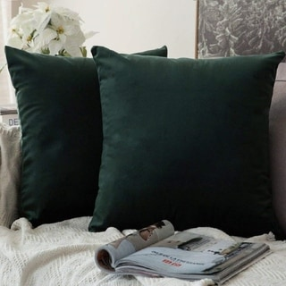 """Pack of 2 Velvet Soft Solid Decorative Throw PillowCaseArmy Green 18"""" x 18"""""""