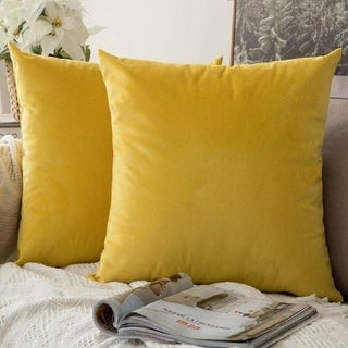 "Link to Pack of 2 Velvet Soft Solid Decorative Throw Pillow Case Lemon Yellow 16"" x 16"" Similar Items in Decorative Accessories"