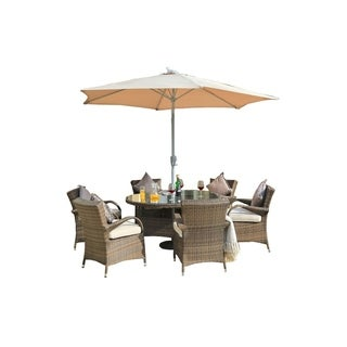Eton Chair 7-piece Rattan Dining Set By Direct Wicker with Cushions(  No umbrella) - N/A