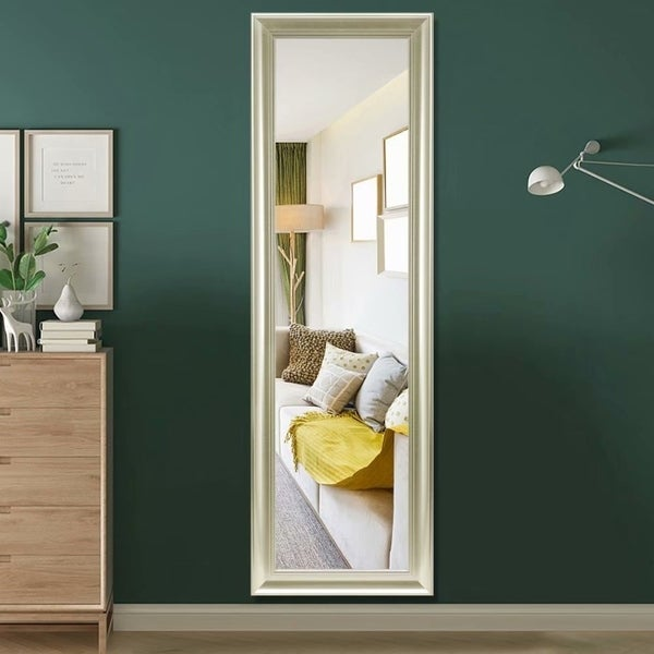 Elegant Retro Rectangular Full Length Floor Mirror Hanging or Leaning