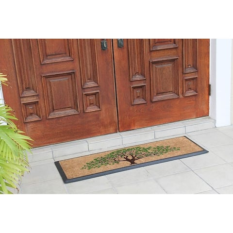 """A1HC Hand-Crafted Rubber Coir Life of Tree Double Door Mat 30""""x48"""""""